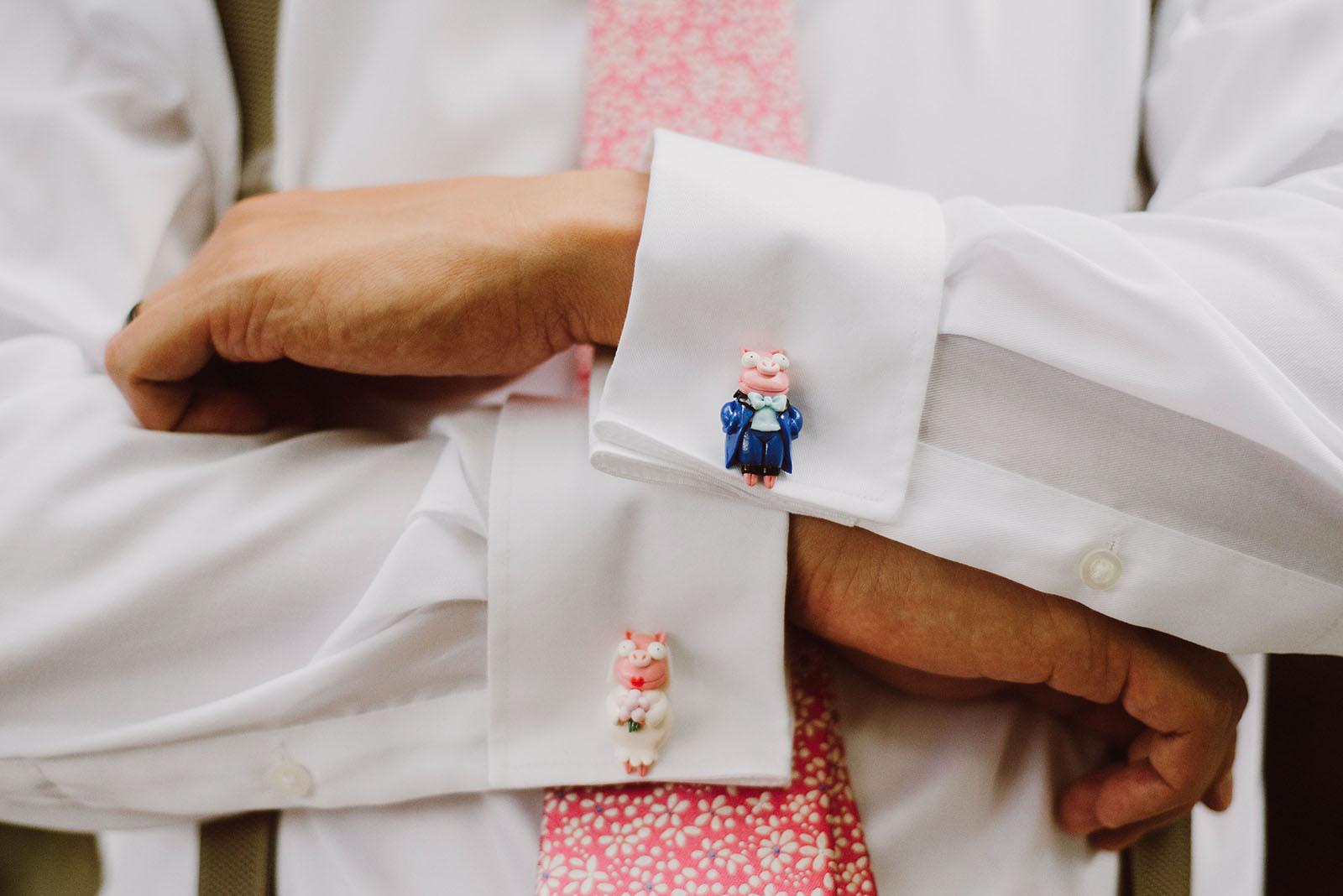 Simpsons piggy cufflinks | Downtown Portland Elopement