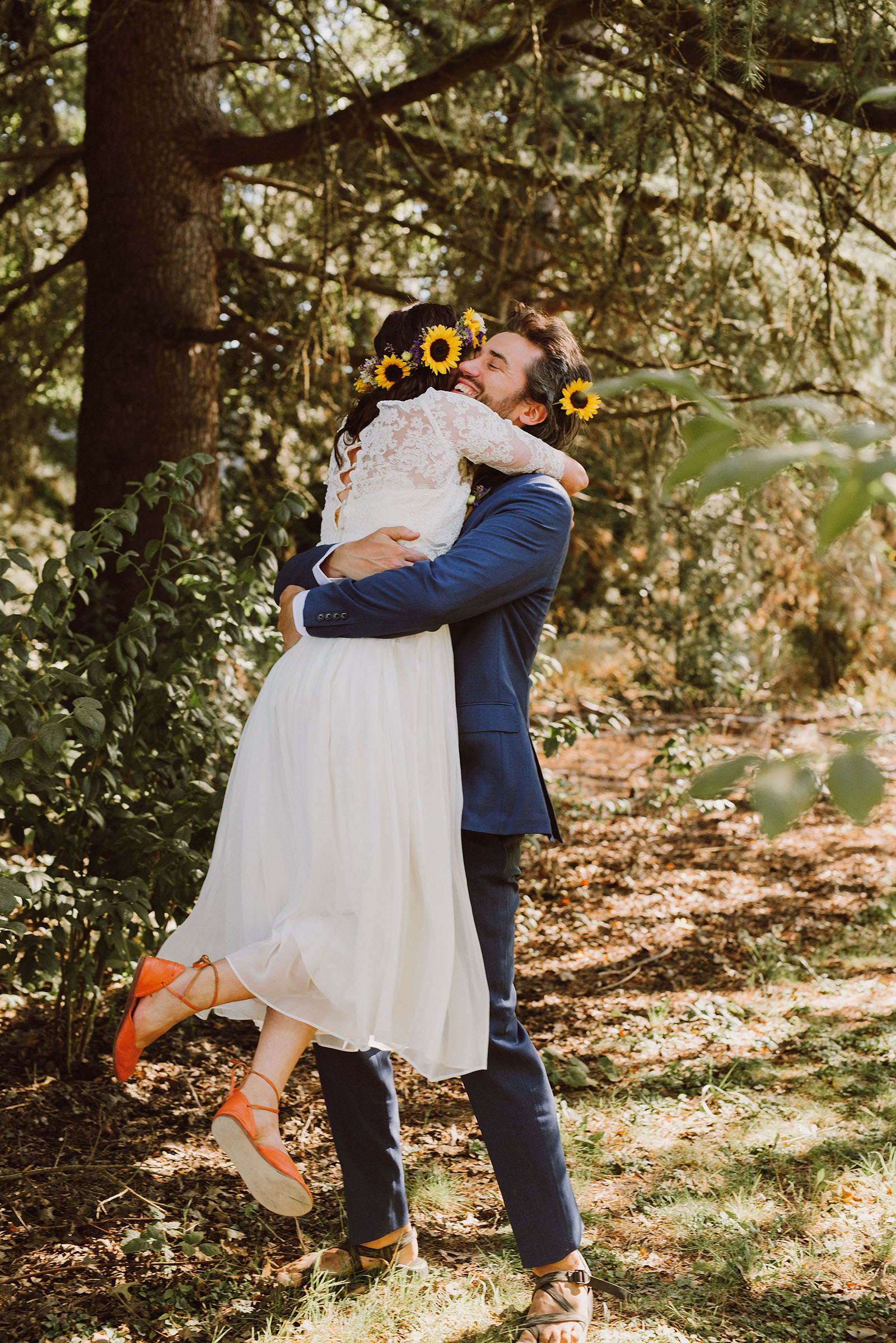 Bride and Groom hug at First Look | Sauvie Island Wedding