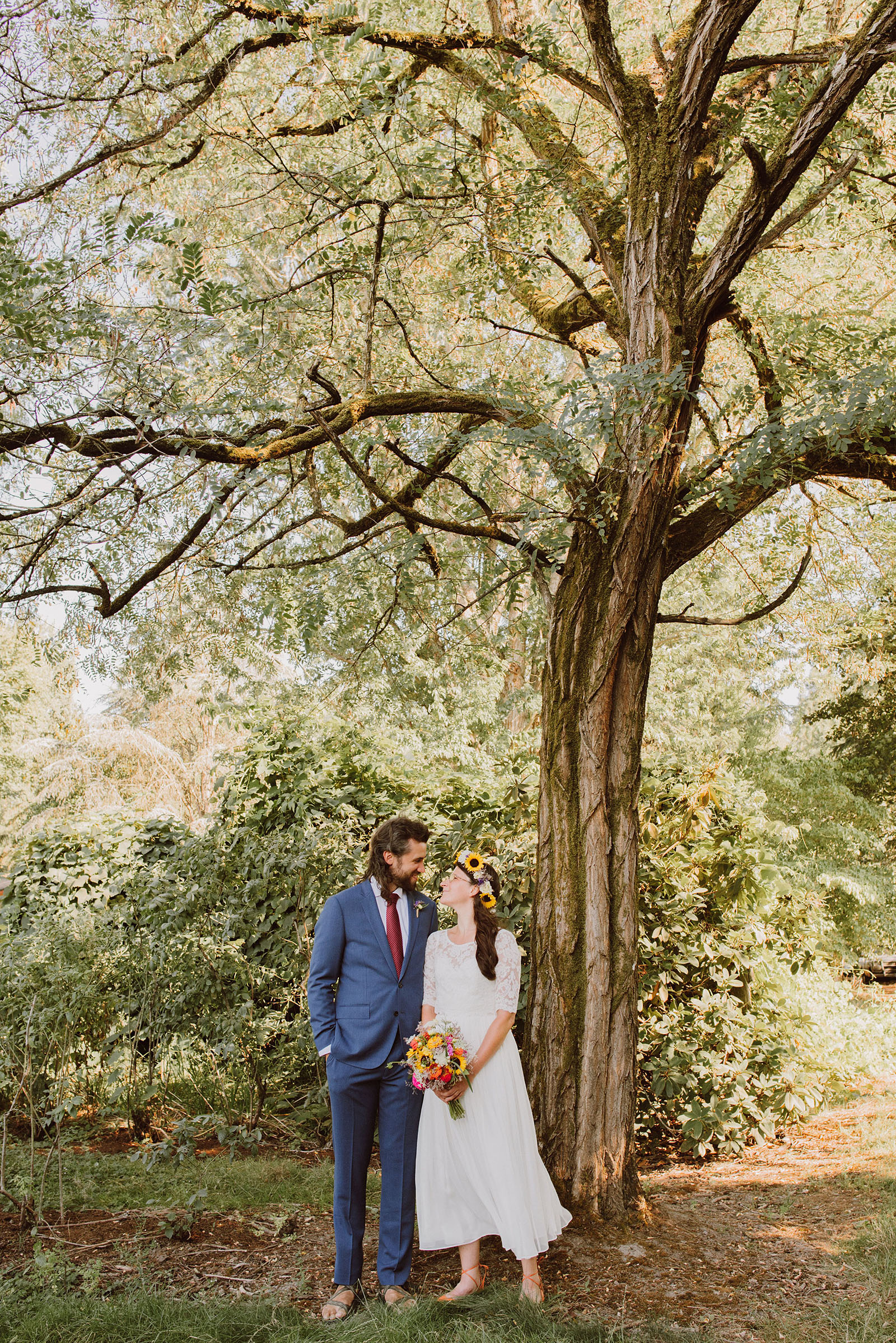 Portrait of the bride and groom under a tree | Sauvie Island Wedding
