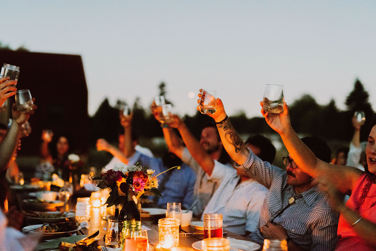Guests toasting at the reception | Sauvie Island Wedding