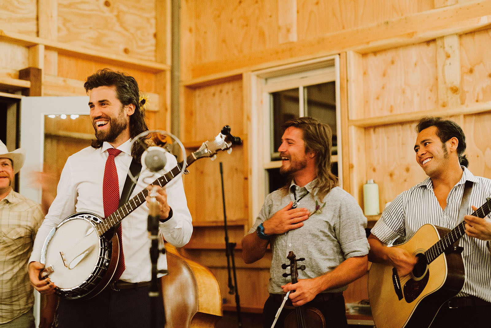 Groom joining the bluegrass musicians | Sauvie Island Wedding