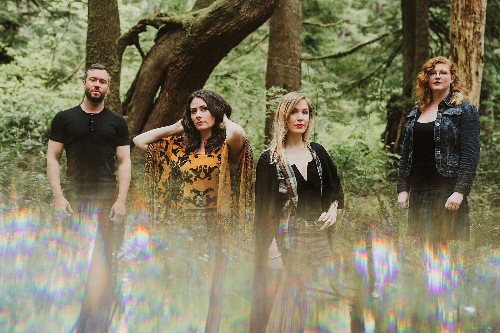 Prism portrait of folk band Lenore in Oswald West State Park | Portland Band Photographer