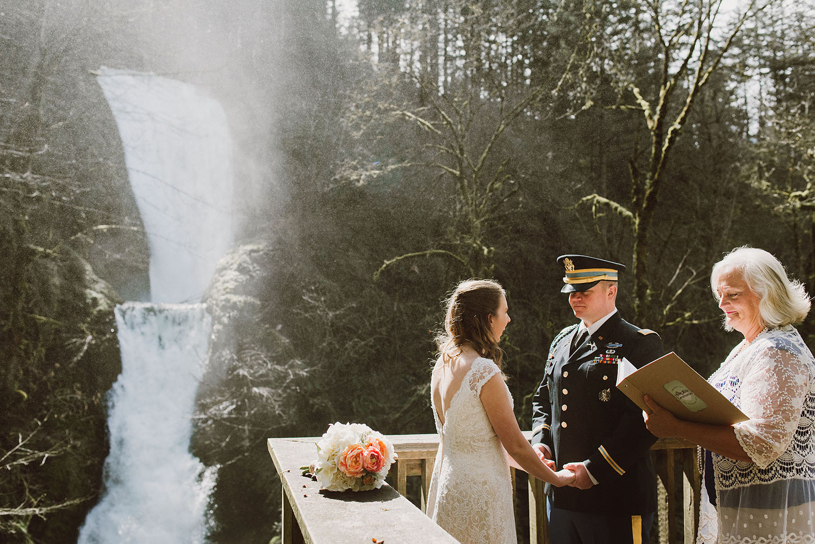 Wedding ceremony in front of a waterfall | Bridal Veil Elopement Photographer