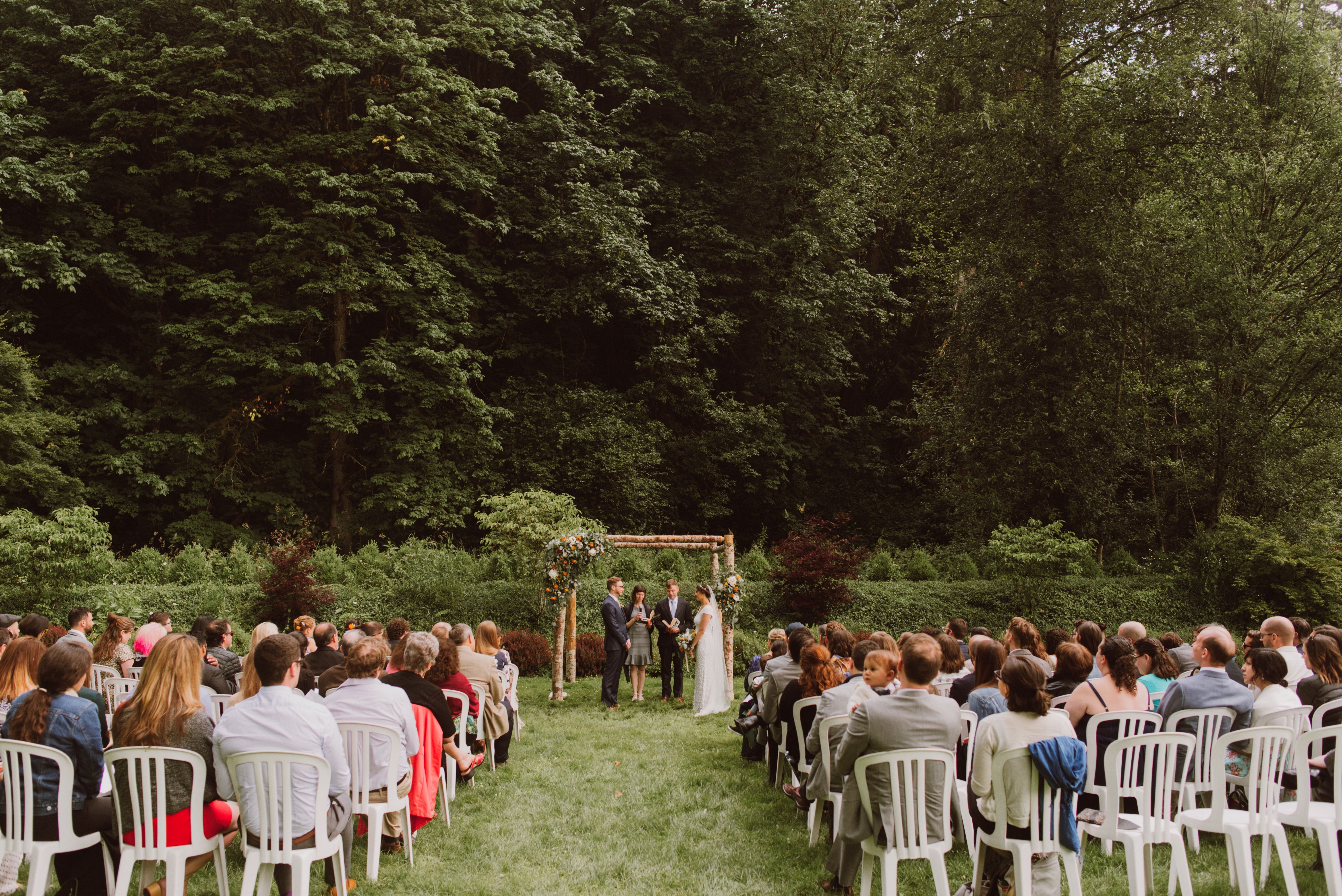 Ceremony on the lawn at Camp Angelos