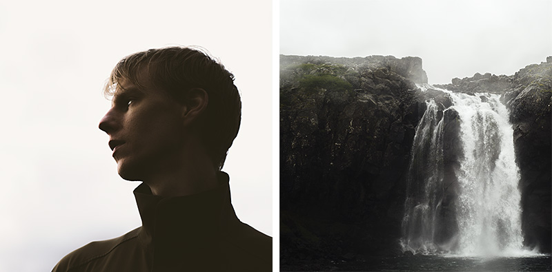Two images used to create double exposures in photoshop: A man's profile and a waterfall