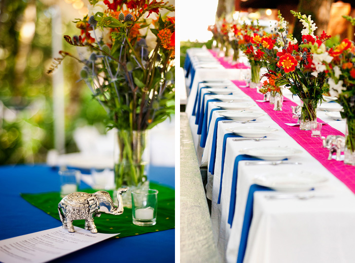 Flowers and table settings for Hindu Wedding - Bridal Veil Lakes - Portland Oregon