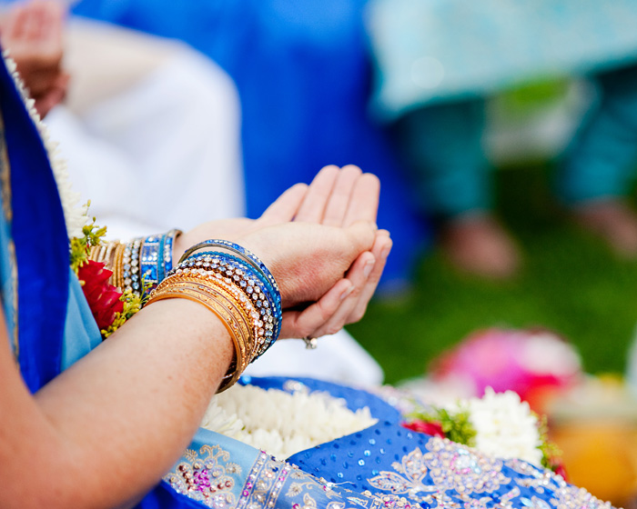 Hindu Wedding - Bride with open palms - Bridal Veil Lakes - Portland Oregon