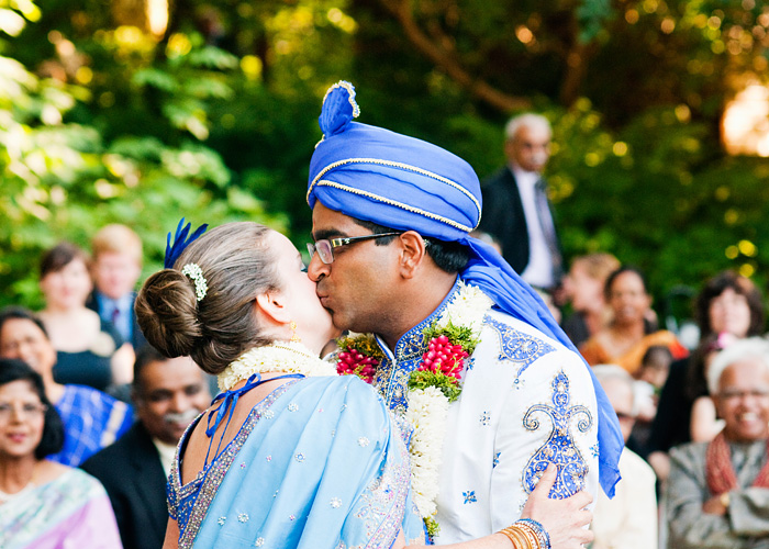 Bride and Groom kiss - Hindu wedding - Bridal Veil Lakes - Portland Oregon
