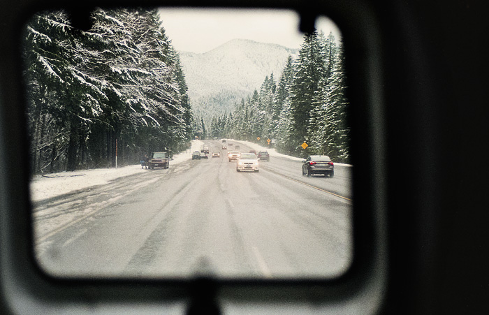 Film - Driving to Mt. Hood - Snow, Forest