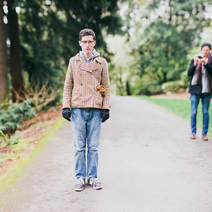 Chris recording Alan in Laurelhurst Park