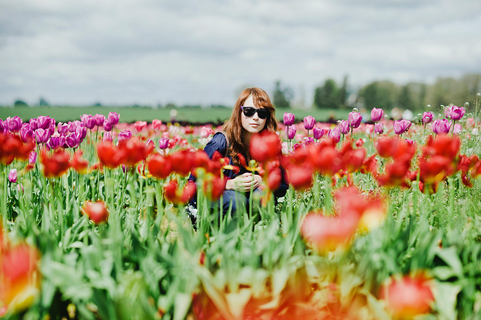 Stefanie in the Tulip Fields - Portland Portrait Photographer - Bokeh Panorama
