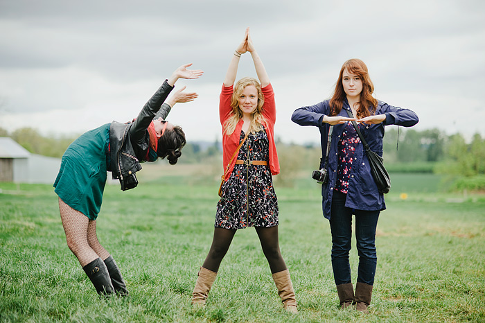 Three girls spelling the word CAT with their bodies - Portland Lifestyle Photographer