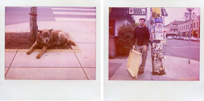A dog and a man with table standing on Hawthorne, Portland, OR - Polaroid Spectra - Expired Polaroid Film