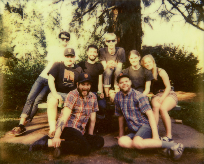 Birthday Polaroid Group Shot in Laurelhurst Park - Polaroid Spectra - Impossible Project Color Shade
