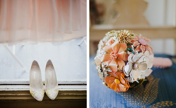 Paris Elopement Photographer - Bride's shoes and brooch bouquet