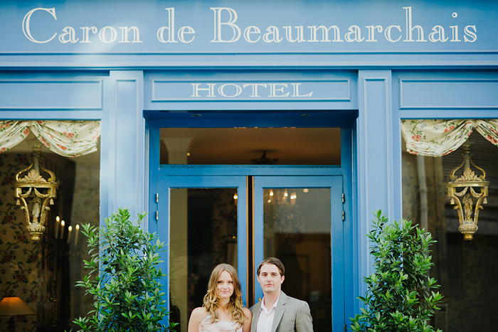 Destination Paris Elopement - Couple in front of Hotel Caron de Beaumarchais