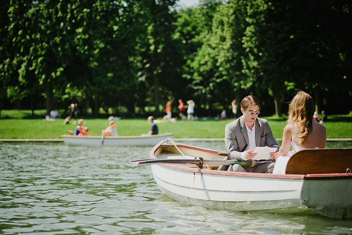 Exchanging vows on a boat in the Gardens of Versailles