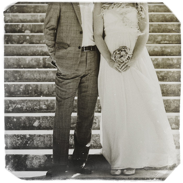 Portland Vintage Wedding Photographer - Newlyweds on Stairs