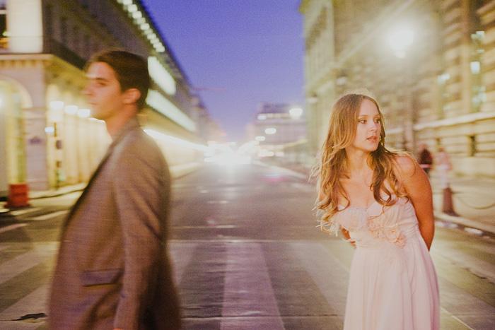 Bride and Groom crossing the street - Paris, France