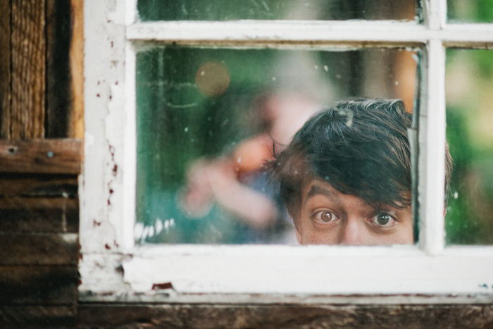 Portland Band Photographer - Drummer Peeking Through Window