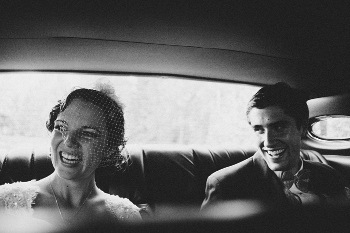 Mt Shasta Wedding Photographer - Bride and Groom in Car