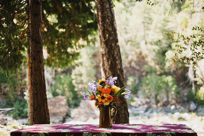 Crescent City Wedding Photographer - Flower centerpieces near the Smith River in Gasquet, CA