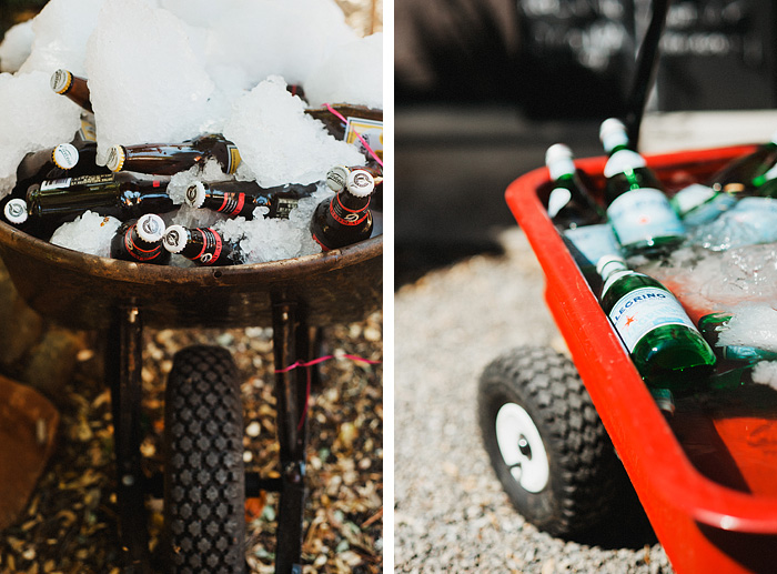Intimate backyard wedding - Beer in a wheelbarrow and Radioflyer - Gasquet, CA