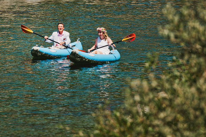 Bride and her father kayaking to her Smith River Wedding ceremony - Gasquet, CA
