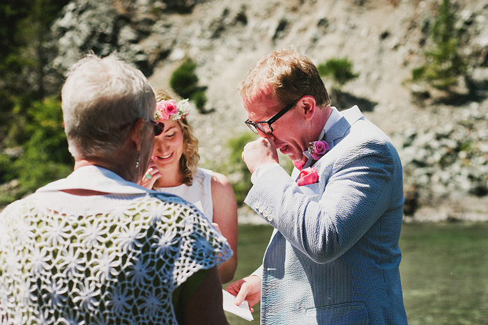 Groom getting choked up during vows - Smith River wedding - Gasquet, CA