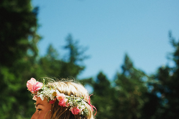 Fresh flower headband worn by bride - Smith River wedding - Gasquet, CA