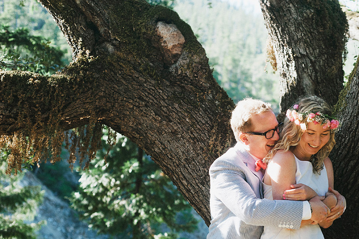 Portrait of newlyweds laughing - Smith River wedding - Gasquet, CA