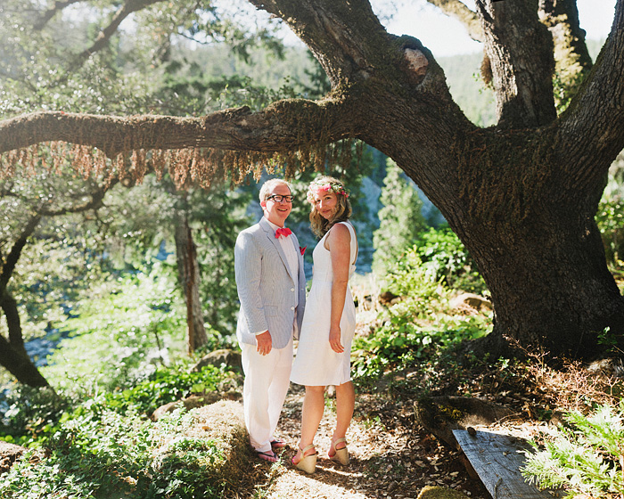 Crescent City Wedding Photographer - Bokeh Panorama Portrait of Bride and Groom near the Smith River