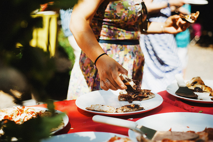 Guests eating Nutella calzones - Intimate Backyard Wedding - Gasquet, CA