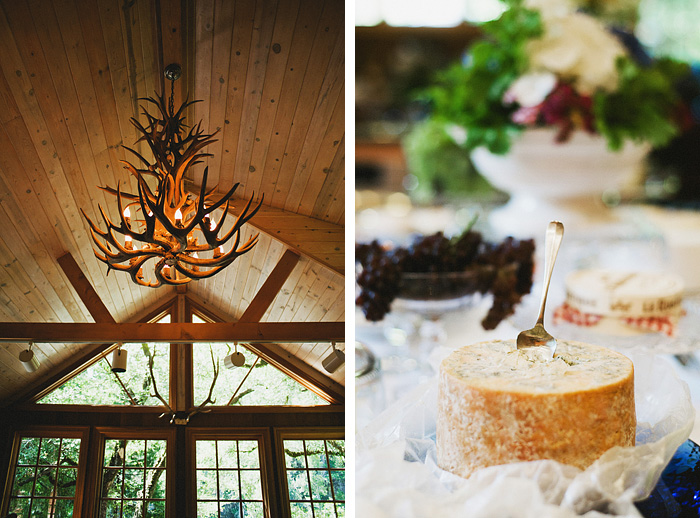 Cheese and an exotic chandelier - Intimate Backyard Wedding - Gasquet, CA