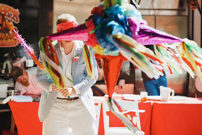 Blindfolded Groom attacking pinata - Intimate Backyard Wedding - Gasquet, CA
