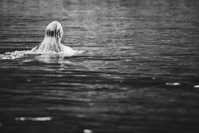 Bride swimming in the Smith River - Intimate Backyard Wedding - Gasquet, CA
