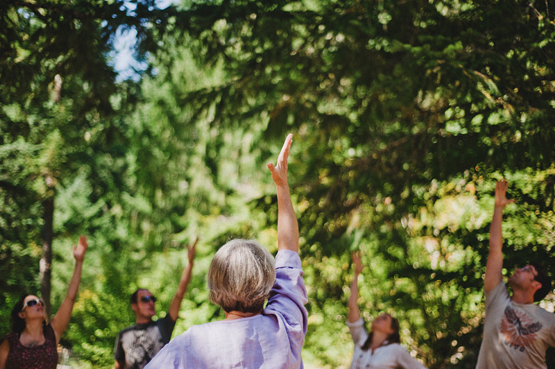 Salem Wedding Photographer - Group Yoga before ceremony in Opal Creek Ancient Forest