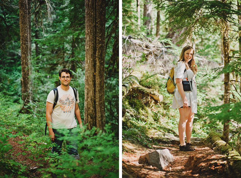 Salem Wedding Photographer - Portraits of Bride and Groom hiking to Ceremony - Opal Creek Wilderness