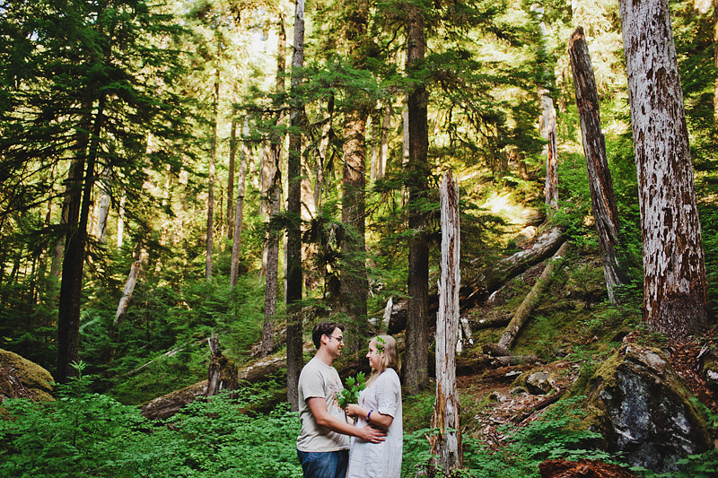 Salem Wedding Photographer - Bride and Groom exchange vows in Opal Creek Ancient Forest
