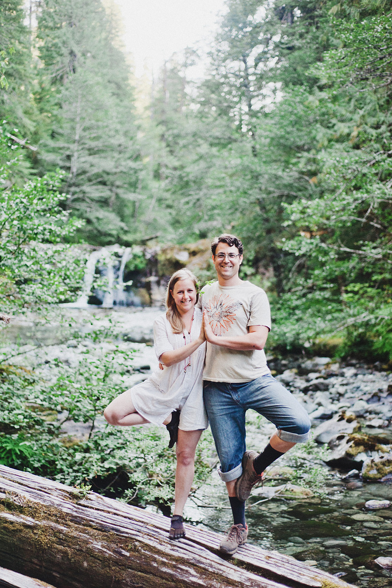 Salem Wedding Photographer - Bride and Groom doing Yoga near waterfall - Opal Creek Ancient Forest