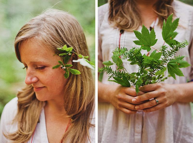 Salem Wedding Photographer - Bride's makeshift forest details - Opal Creek Ancient Forest