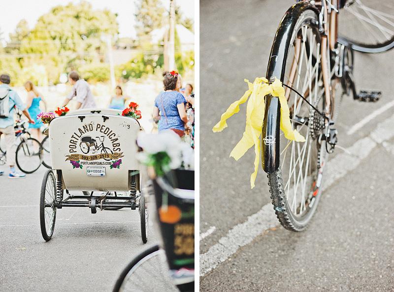 Multnomah Courthouse Wedding Photographer - Bike Parade - Portland Pedals Pedicabs