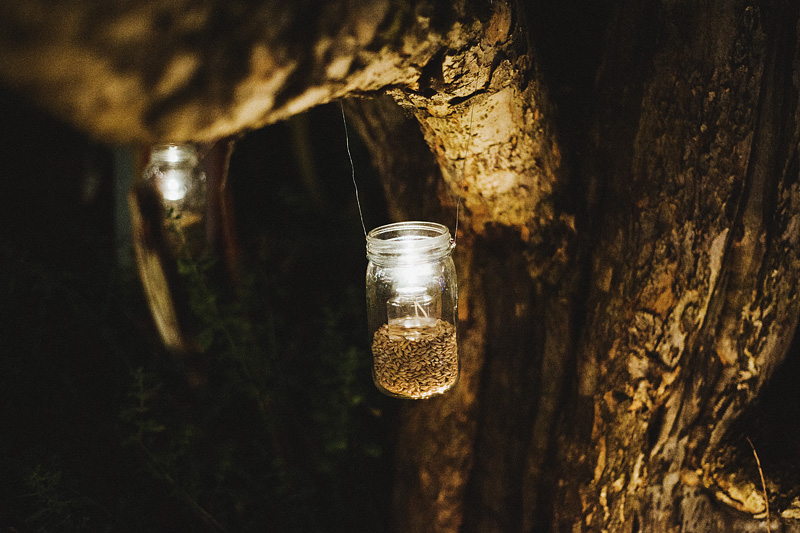 Mason Jar candles hanging from an octopus tree