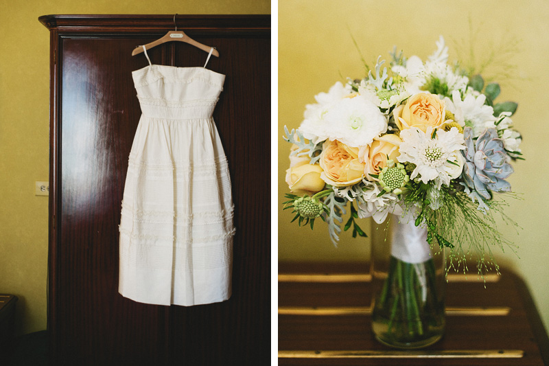 San Francisco Wedding Photographer - Bride's BHLDN dress and bouquet at Hotel Rex