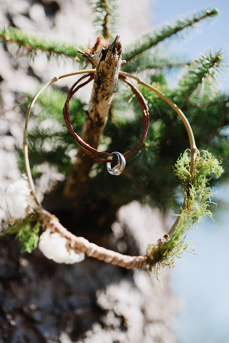 Tillamook Wedding Photographer - Bride and Groom rings wrapped around a twig
