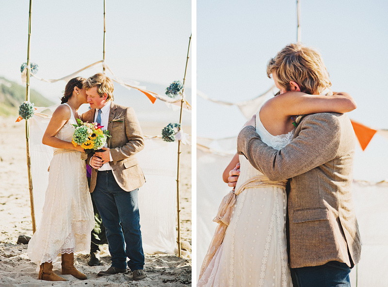 Tillamook Wedding Photographer - Bride and Groom hugging after their first kiss - Oceanside beach ceremony