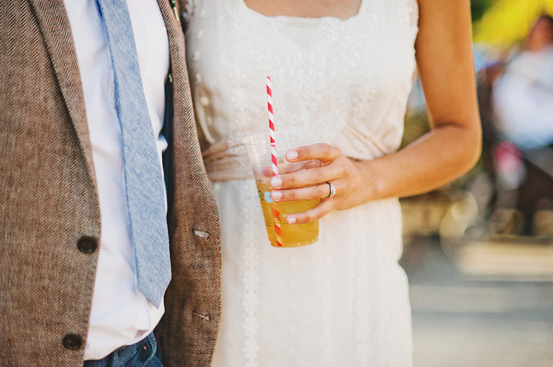 Tillamook Wedding Photographer - Bride and Groom enjoy a drink at their Oceanside Community Center Reception