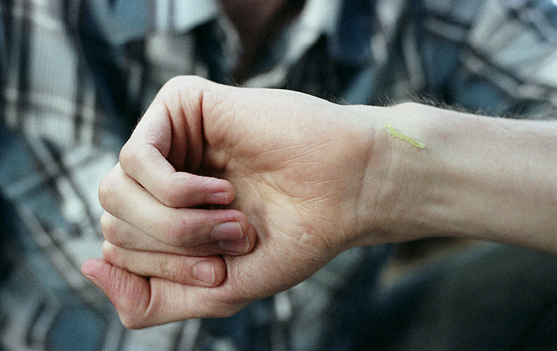 Baby caterpillar on Chris's hand - Nikon F100