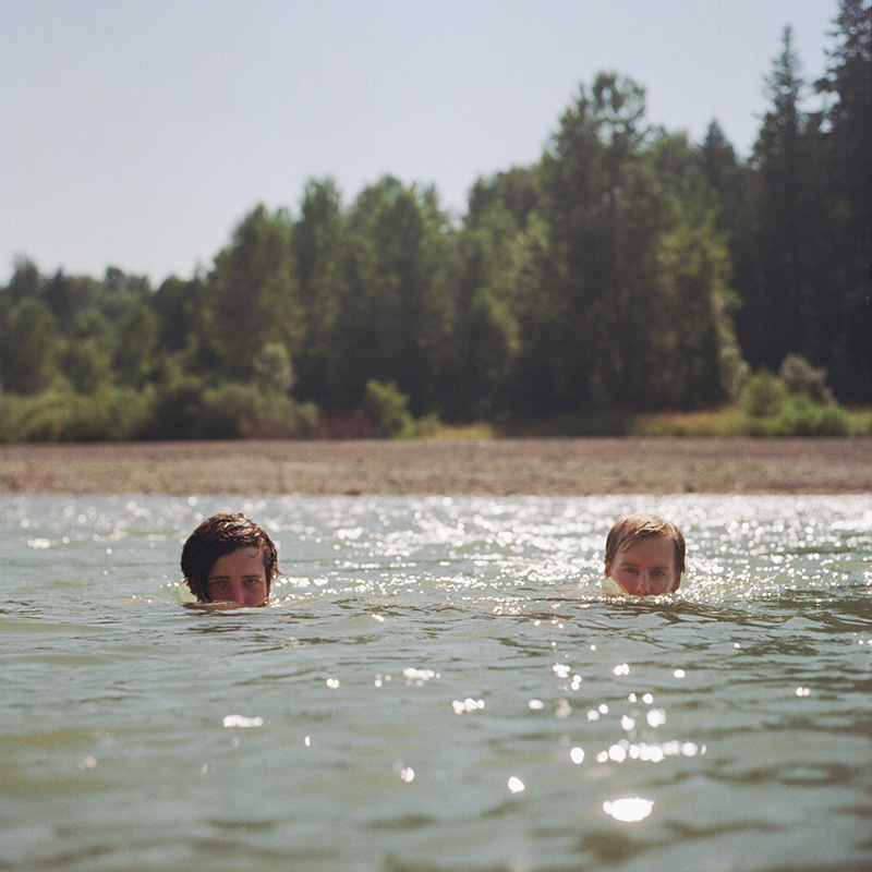 Portland Film Photographer - Rolleiflex portrait of Mark and Chris in Sandy River