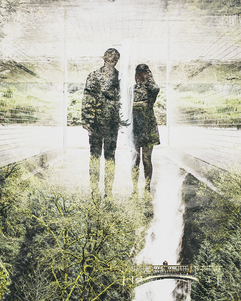 Portland Portrait Photographer - Double Exposure of Karen and Josh at Multnomah Falls